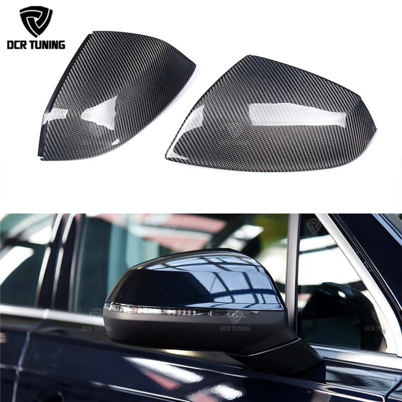 For Audi Q5 Q7 SQ5 Replacement style carbon fiber rear view mirror cover with lane assit & without lane assit 2010 UP
