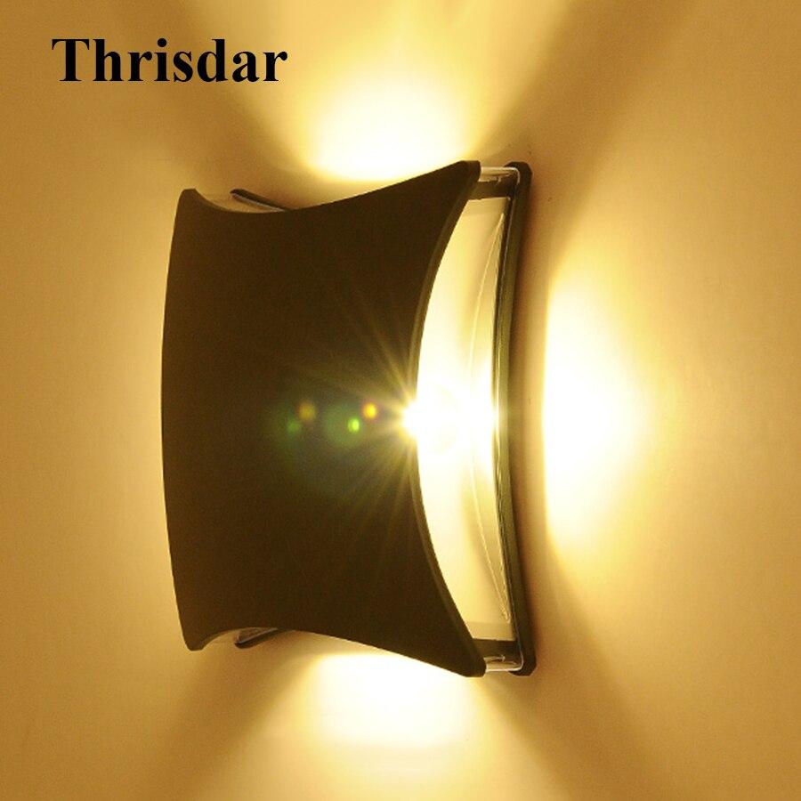 Thrisdar 12W Outdoor LED Wall Lamps IP54 Waterproof Aluminum Balcony Porch Light Garden Villa Corridor Exterior Wall Light комплект для новорожденного трон плюс 7 предметов цвет белый розовый 3403 размер 50 0 1 месяц