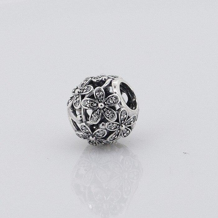 d4bbc75f1e Fits Pandora Pulseira DIY Contas Encantos Da Flor Da Margarida com Cubic  Zirconia Prata 100% 925 Prata Esterlina Jóias Por Atacado