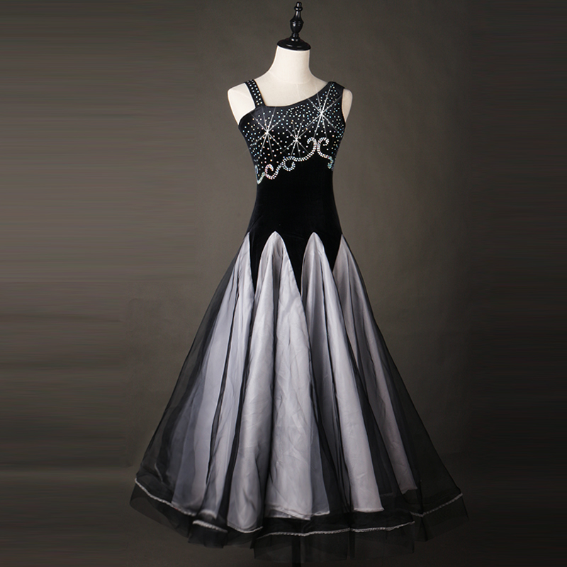 professional ladies standard ballroom dresses dance dresses skirt womens with sleeves black standart competition waltz smooth