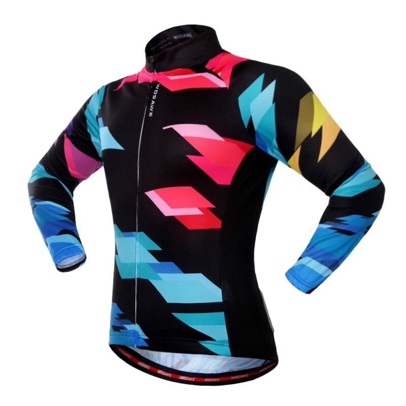 Велоспорт Джерси с длинным рукавом молнии Открытый Спортивная одежда печати быстросохнущая одежда