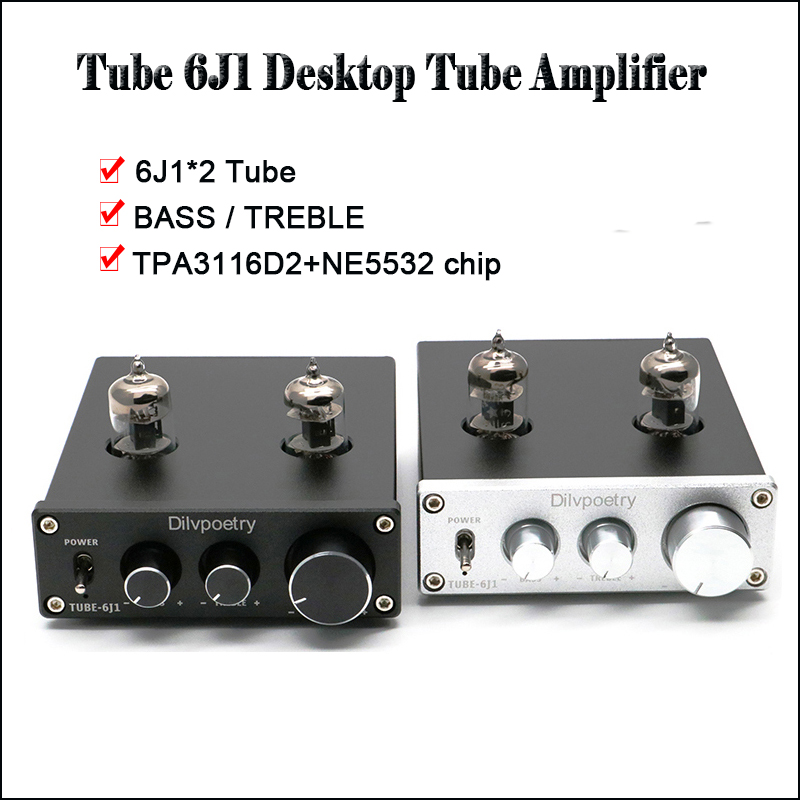 Dilvpoetry TUBE-6j1 Stereo Tube Amplifier Hifi Vacuum Tube Preamp Amplifier TPA3116D2 NE5532 Mini 6j1 Tube Amp Preamplifier k guss a1 mini 6j1 audio tube bile headphone amplifier ne5532 6k4 headphone amp