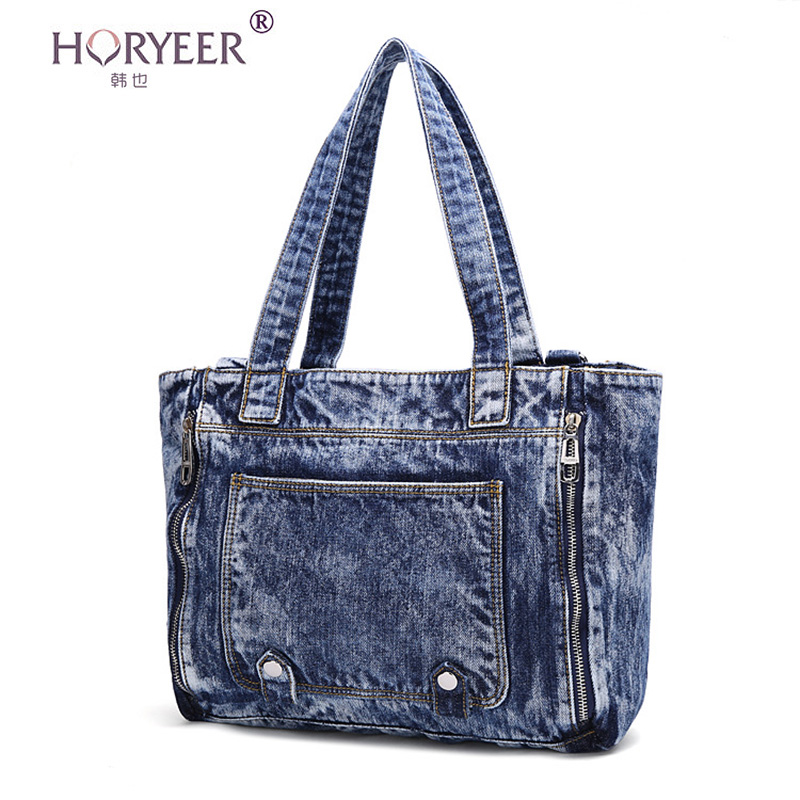 98690ea5604d HORYEER Luxury Famous brands Designer women jeans handbags high quality  ladies rivet bag Denim handbags women bags sac a main