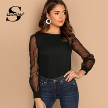 Sheinside Black Women Blouse Pearl Beaded Mesh Sleeve Top Ladies Long Sleeve Shirts Elegant Womens Clothing Tops And Blouses
