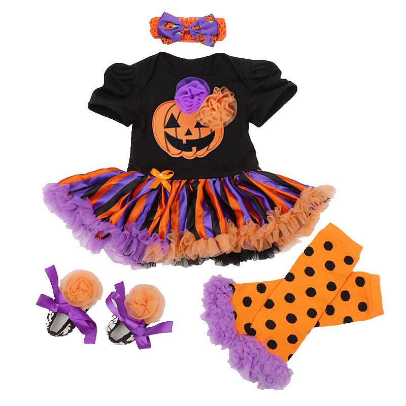 Newborn Girls Clothing Set Bebes Romper Suits Pumpkin Romper Tutu Dress 1st Party Infant Baby Cosplay Baby Set Halloween Clothes