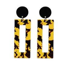 ECODAY Fashion Leopard Print Acrylic Earrings for Women Geometric Resin Drop Oorbellen Pendientes Mujer