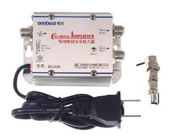2 Way 1 In 2 Out CATV VCR TV antena wzmacniacz sygnału wzmacniacz Splitter 20DB 45Mhz do 860MHz 220V ue wtyczka tanie i dobre opinie TCXRE Indoor 45-860MHz Signal Amplifier