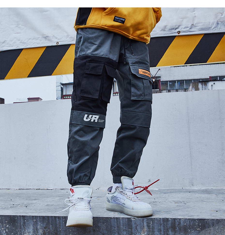 2019 Pockets Cargo Pants Men Color Patchwork Casual Jogger Fashion Tactical Trousers Tide Harajuku Streetwear KJ334