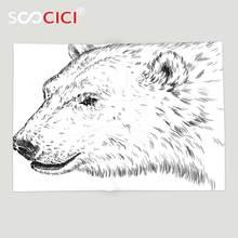 Пользовательские мягкого флиса Пледы Одеяло животного Polar Bear профиль тисненый рисунок тушью гризли пушистый диких животных в Северной зимы зоопарк черный