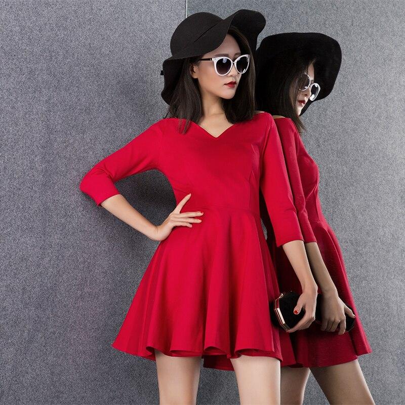 10xl Colori Il Slim Scollo Rossa Personalizzare Piccolo V A Una Vestito Sexy Donne Più 3xs Nero Delle 26 Aderente Linea Abiti Signore Formato Tutto Fit CqqAUw5