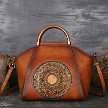 ترف المرأة حقائب يد جلدية حقيقية السيدات ريترو أنيقة الكتف حقيبة ساعي جلد البقر اليدوية حقائب نسائية
