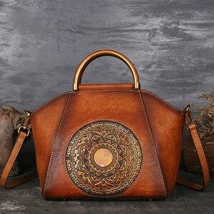 Image 1 - Роскошные женские сумки из натуральной кожи, женская элегантная ретро сумка мессенджер из коровьей кожи, женские сумки ручной работы