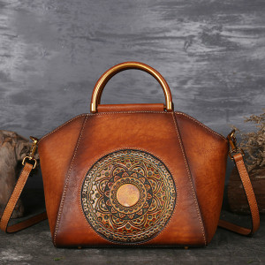 Image 1 - Luxury Women Genuine Leather Handbags Ladies Retro Elegant Shoulder Messenger Bag Cow Leather Handmade Womans Bags