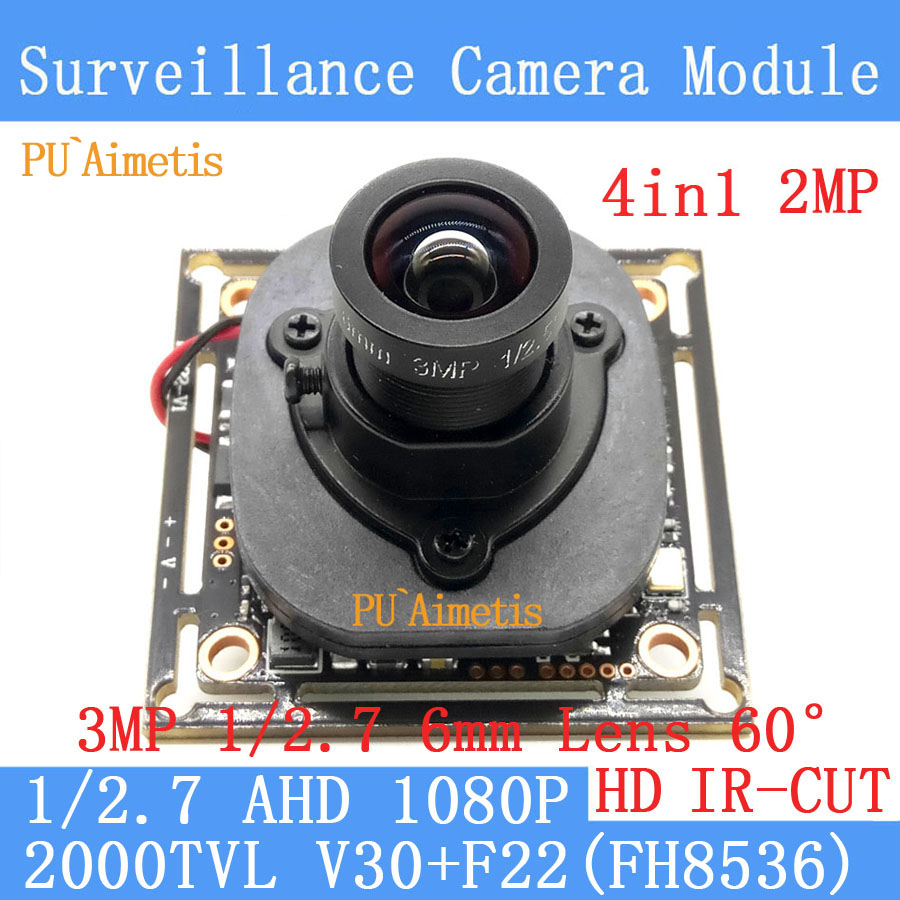 PU`Aimetis 4in1 2MP 1920*1080 AHD CCTV 1080P mini night vision Camera Module 1/2.7 2000TVL 3MP 6mm Lens AHD surveillance camera pu aimetis 4in1 1000tvl ahd cctv camera module 3mp 3 6mm lens pal or ntsc optional surveillance camera ir cut dual filter switch