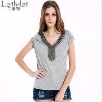 Lztlylzt New Summer 2016 Women Casual Gray Tee Shirt Plus Size XXXL Short Sleeve V Neck