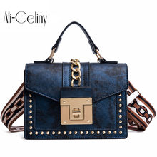 Women's Fashion PU Leather Girl Rivets Star Mini Bag High Quality Wide Shoulder Strap Bag Messenger Small Square Package(China)