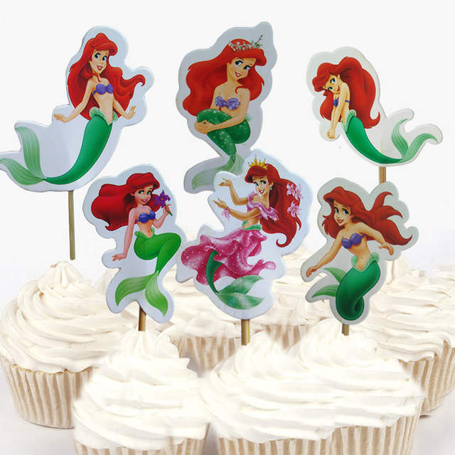 Strange 24Pcs 48Pcs The Little Mermaid Princess Ariel Cupcake Topper For Funny Birthday Cards Online Drosicarndamsfinfo