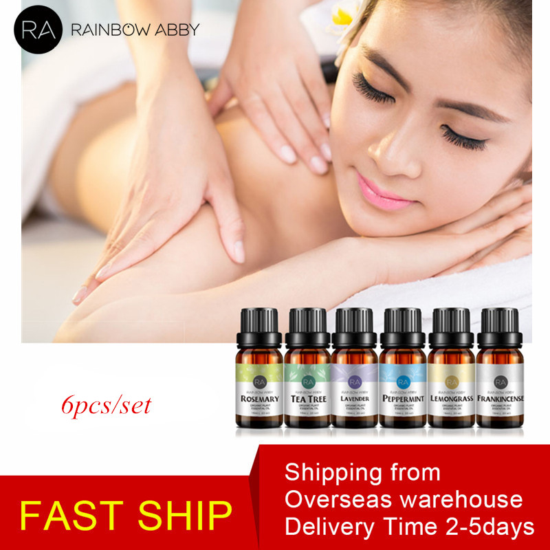 6pcs/Set Pure Essential Oils Peppermint Eucalyptus Orange Aromatherapy For Drop Shipping Natural Oil Essential Oil Body Massage
