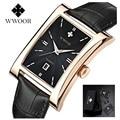 Marca wwoor relojes reloj del cuadrado del cuarzo del reloj de los hombres ultra-delgado impermeable hombre de negocios de cuero relojes relogio masculino