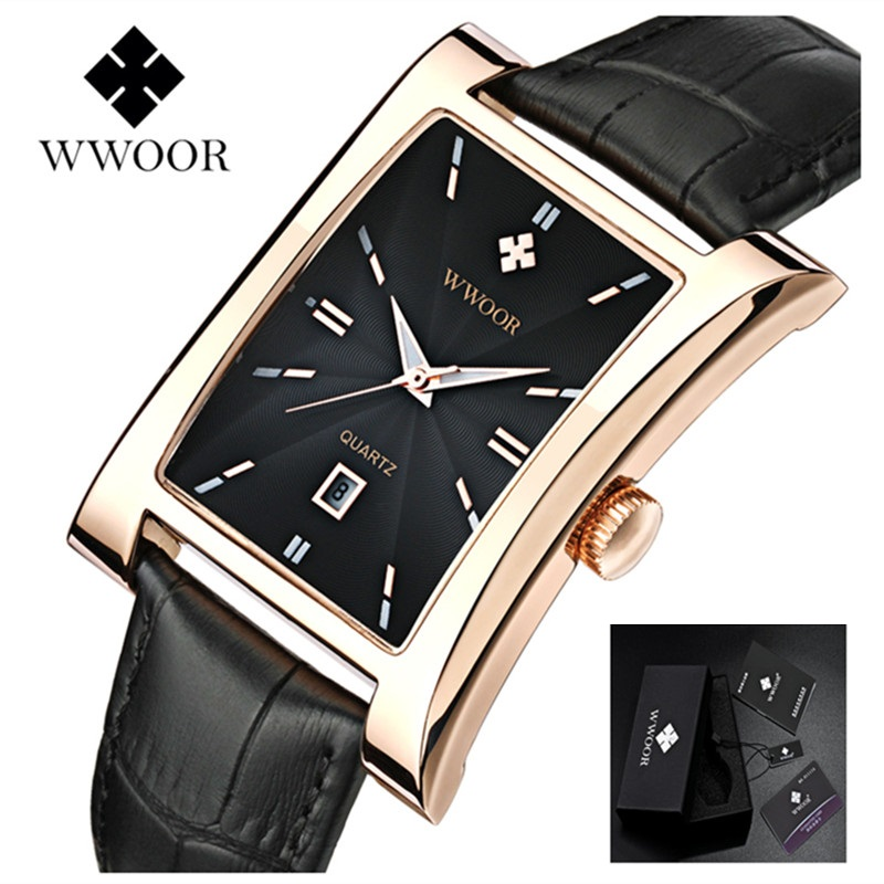 WWOOR Men Watch Ultra thin Square Watches Quartz Watches Waterproof Man Business Leather Wrist Watches Relogio Masculino