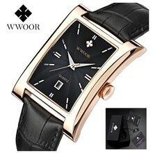купить Ultra-thin Men's Watches Brand WWOOR Watch Square Quartz Watch Waterproof Man Business Leather Wrist Watches Relogio Masculino по цене 1121.31 рублей