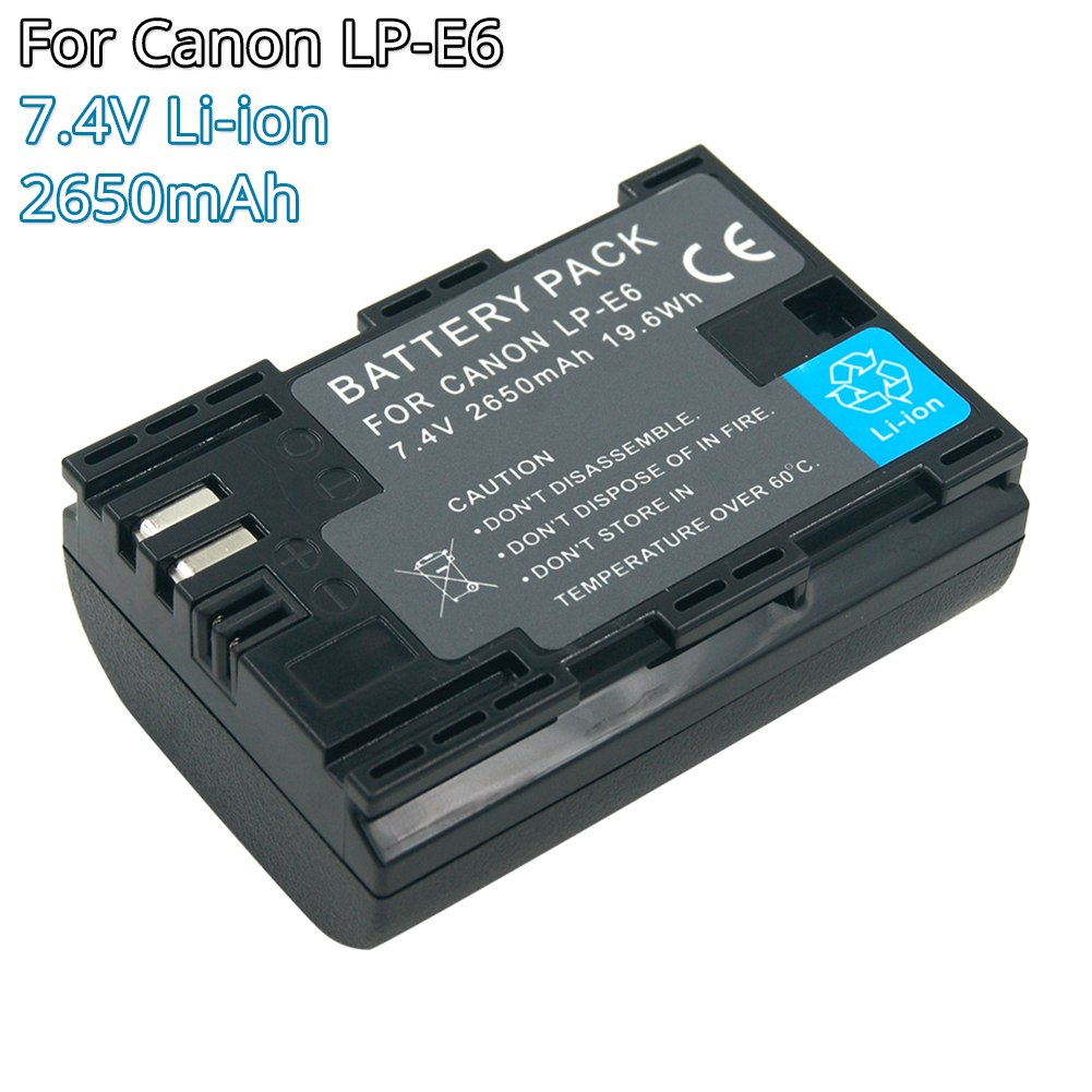 LP-E6 LPE6 LPE6N Camera Battery 7.4V 2650mAh Li-ion Rechargeable Batteries For Canon EOS 5D 6D 7D 60D 70D 80D Mark II Mark III