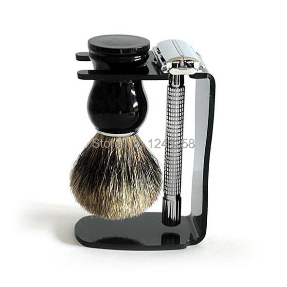 4pc/set Safety Razor Holder & Badger Shaving Brushes Holder Bowl for Men Face Hair Removal