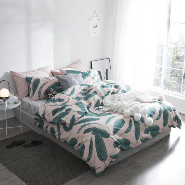 Pink and green Banana leaves bedding set plants print 100% Cotton ...