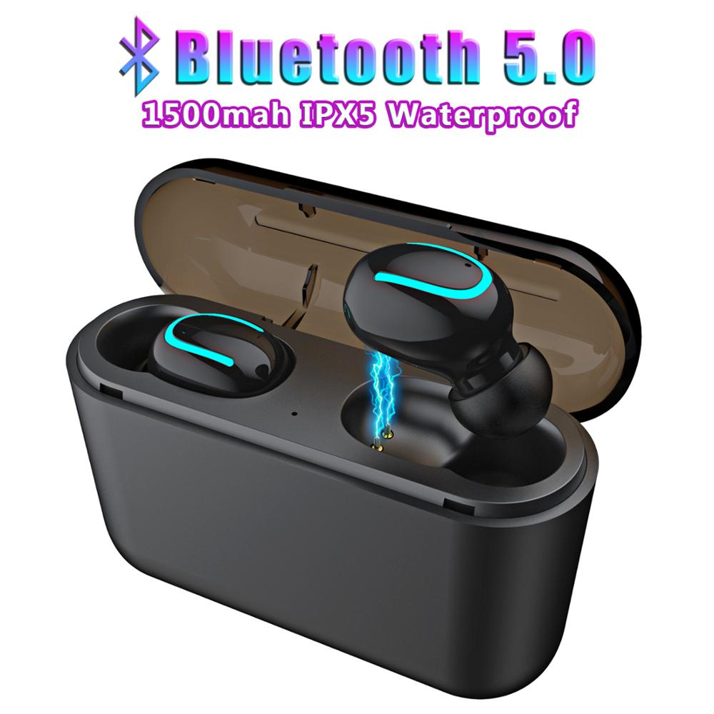 Wireless Earphones Bluetooth 5.0 Mini Earphone Handsfree Sports Earbuds Headset with Charging box Microphone for Phone Tablet