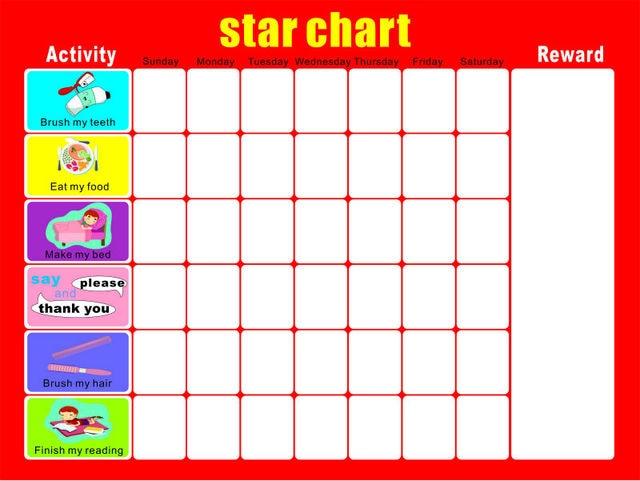 Hot 2017 New 40 30cm Magnetic Star Reward Chart For Children Good Behavior Red Color Free Shipping