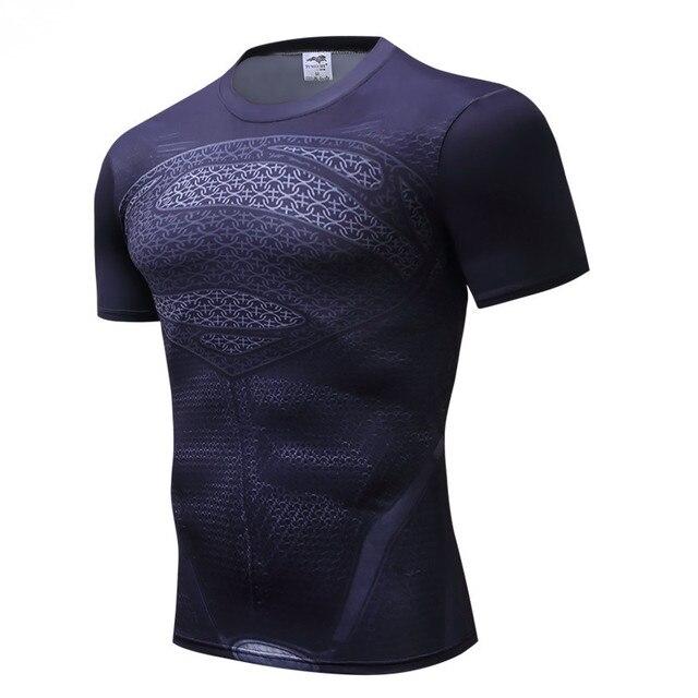 Superman Tshirts Pria Kompresi Kemeja Batman Atasan Blitz Kaus Kebugaran CrossFit Kaus Bodybuilding Camiseta Rashguard