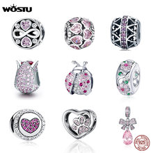 WOSTU 100% 925 Sterling Silver Pink CZ Heart Charm Fit pandora charms silver 925 original silver charm 2019 Jewelry Making(China)