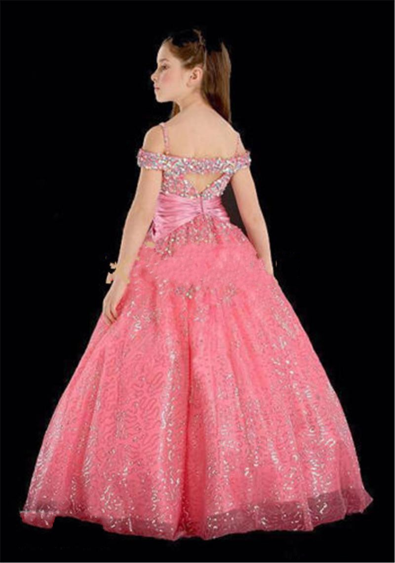 2016 New Lovely Pink Flower Girls Dresses Off Shoulder Floor Length Sequins A Line Girls Pageant Dress GL in Flower Girl Dresses from Weddings Events