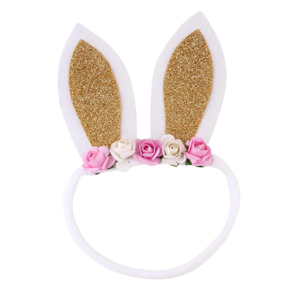 1pcs ขาย Glitter กระต่ายหู Headband เด็กดอกไม้ไนลอนวงผมสาวกระต่ายไนลอน Headbands อีสเตอร์อุปกรณ์เสริมผม