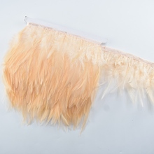 Wholesale 10 Meters/lot Champagne Pheasant Feathers Trim Fringe Chicken Rooster for Crafts Wedding Decoration Plumes