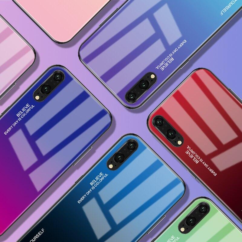 Градиент чехол для телефона с закаленным стеклом для huawei Honor 8X Коврики 20 Pro Коврики 10 P20 Lite P Смарт плюс Nova 3i 3 4 P30 крышка Корпус