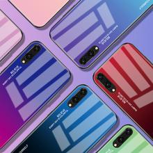Gradientowe etui na telefon ze szkła hartowanego dla Huawei Honor 8X Mate 20 Pro Mate 10 P20 Lite P Smart Plus Nova 3i 3 4 P30 obudowa tanie tanio GerTong Aneks Skrzynki Gradient Tempered Glass Case Anti-knock Odporna na brud P30 Pro Błyszczący Szkło hartowane Soft Silicone Edge + Tempered Glass Cover + Painted Layer Case