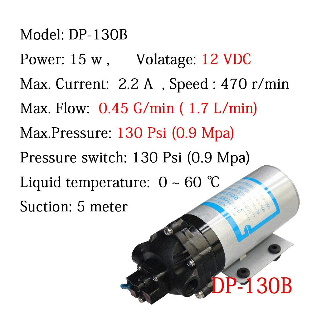 Pompe à eau à vide Micro diaphragme DP-130B DC 12 V pompage pour système d'alimentation d'arrosage filtre de contrôle de la Pollution hygiénique CE passé