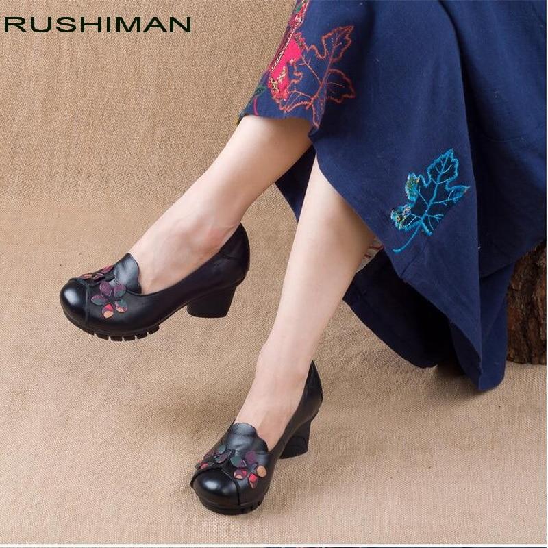 RUSHIMAN Women Genuine Leather Flat Shoes Woman Loafers New Fashion Women Casual Single Shoes non slip