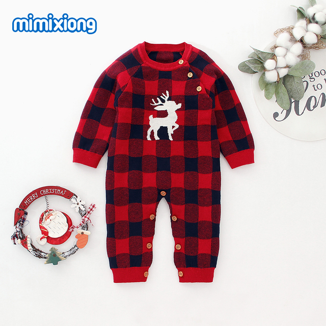 Baby Rompers Christmas Newborn Boys Pajamas Jumpsuits Autumn Long Sleeve Infant Kids Girls Overalls Winter Children Knit Clothes