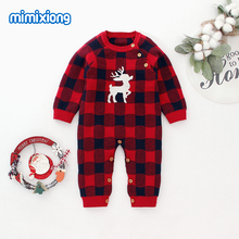 Baby Rompers Newborn Boys Christmas Pajamas Jumpsuits Autumn Long Sleeve Infant Kids Girls Overalls Winter Children Knit Clothes цена