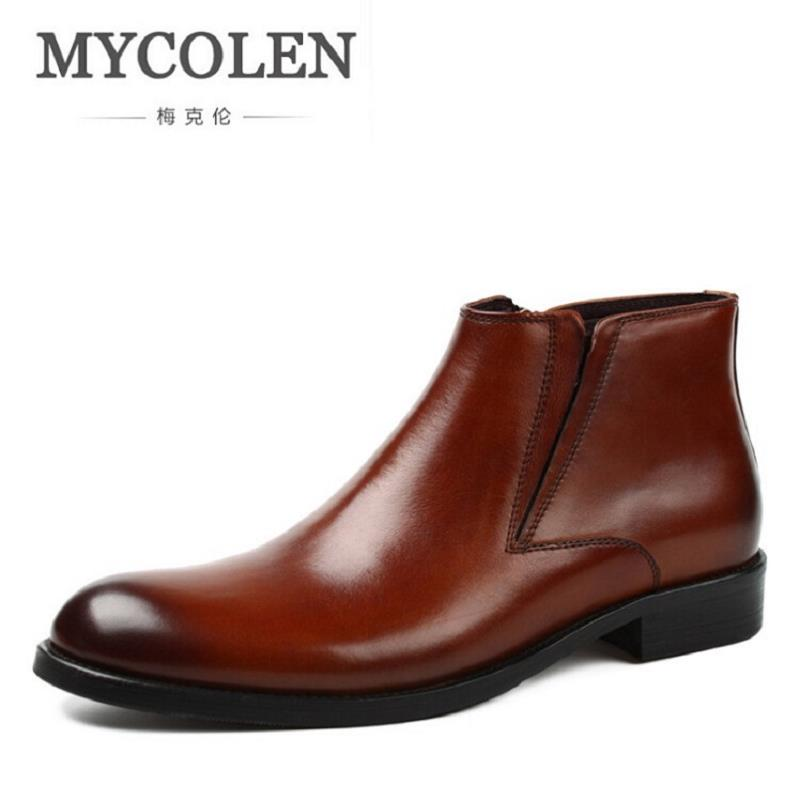 MYCOLEN Genuine Leather Handmade Men Boots Snow Winter Causal Work Shoes Male Comfortable Ankle Boot Botas De Couro Masculino northmarch brand ankle snow boots men shoes genuine leather winter fashion cow motocycle casual boot male high top flat botas