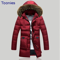 2017 Winter Warm Jacket Coats Men Fashion Casual Hooded Long Clothing Outerwear Male Pockets Solid Coat