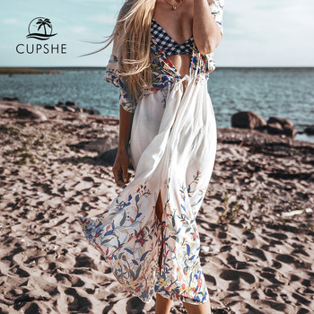 CUPSHE Wildflower Midi Bikini Cover Up Sexy Lace Up Women Long Dress Capes 2020 Summer Beach Bathing Suit Beachwear 2