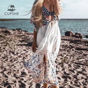Image 2 - CUPSHE البرية ميدي بيكيني التستر مثير الدانتيل يصل المرأة فستان طويل الرؤوس 2020 الصيف شاطئ ثوب السباحة بحر
