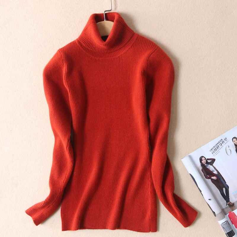 Suéter de mujer de alta calidad nuevo jersey de cuello alto de invierno Tops de cachemira sólida suéter de otoño suéter femenino Venta caliente