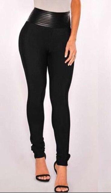 Top qualité HL célébrité mode en cuir noir moulante épaisse rayonne Bandage pantalon