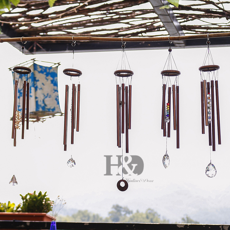 H & D Chakra Leben Im Freien Windspiele Hof Antique Erstaunliche Garten Rohre Glocken Kupfer Hause Windchime Wand Hängen Hause decor