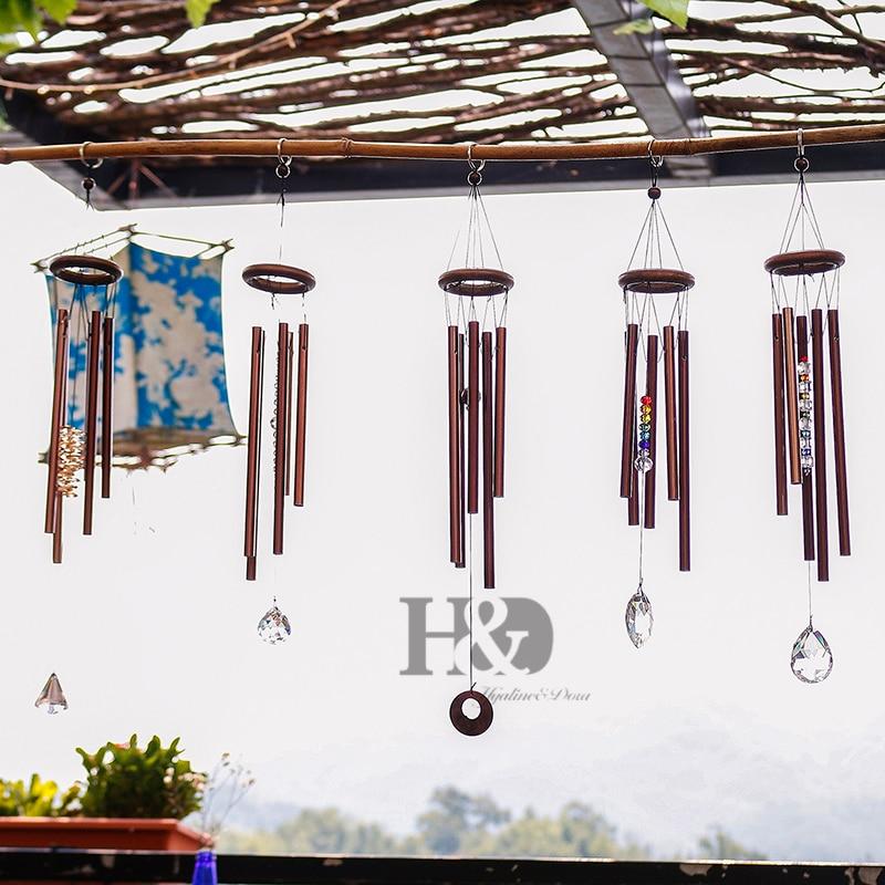 H & D Chakra de la vida al aire libre campanas de viento patio antiguo increíble jardín tubos campanas de cobre casa campanilla colgando de la pared casa decoración