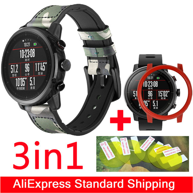 8c08cd018 3in1 Leather Straps for Xiaomi Huami Amazfit Pace 2 Stratos Strap +PC case  cover smart